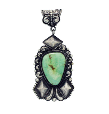 Load image into Gallery viewer, Jess Martinez, Emerald Valley Turquoise, Stamping, Silver, Navajo Made, 4