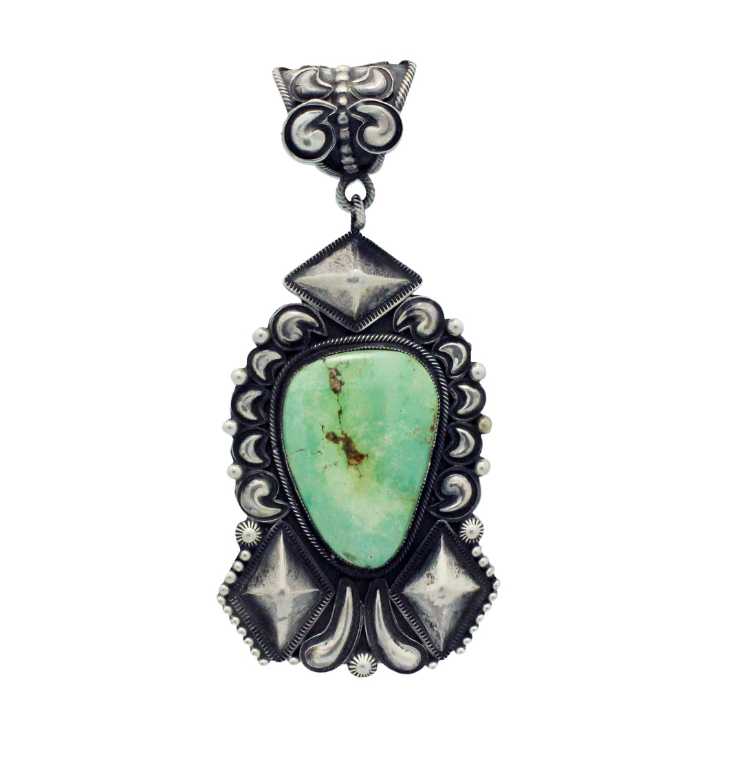 Jess Martinez, Emerald Valley Turquoise, Stamping, Silver, Navajo Made, 4