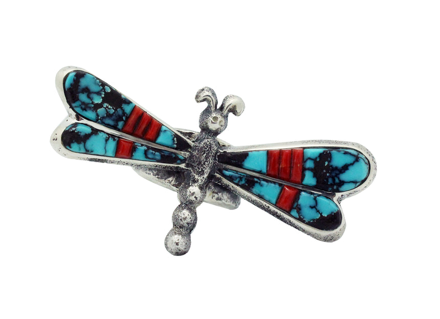 Lester James, Ring, Dragonfly, Turquoise, Coral, Silver, Navajo Handmade, 9