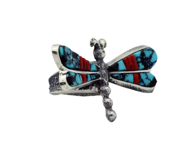 Load image into Gallery viewer, Lester James, Ring, Dragonfly, Turquoise, Coral, Silver, Navajo Handmade, 9