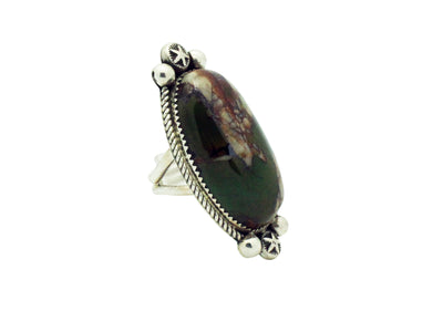 Load image into Gallery viewer, Tiffany, Melvin Jones, Ring, Royston Turquoise, Sterling, Navajo Handmade, 7.5