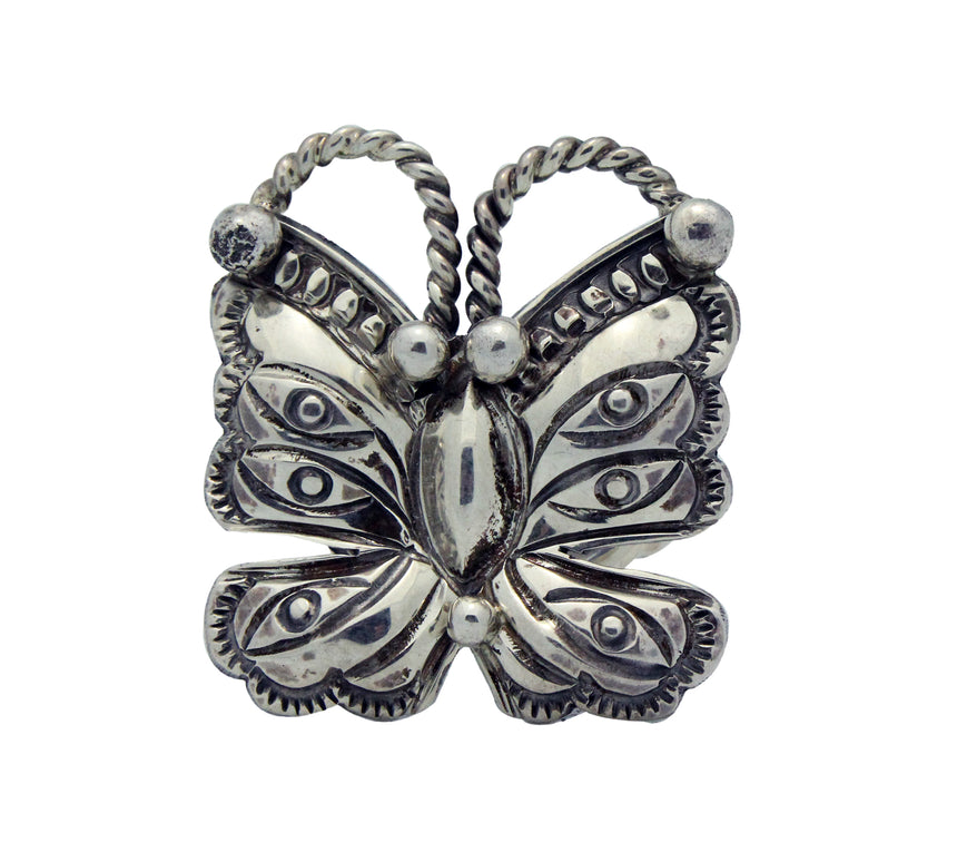 Randy Boyd, Ring, Butterfly Design, Stamping, Sterling Silver, Navajo Made, 5.5