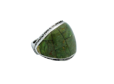 Load image into Gallery viewer, Lester James, Ring, Inlay, Wide, Emerald Valley Turquoise, Navajo Handmade, 9