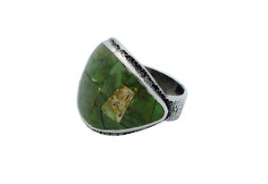 Lester James, Ring, Inlay, Wide, Emerald Valley Turquoise, Navajo Handmade, 9