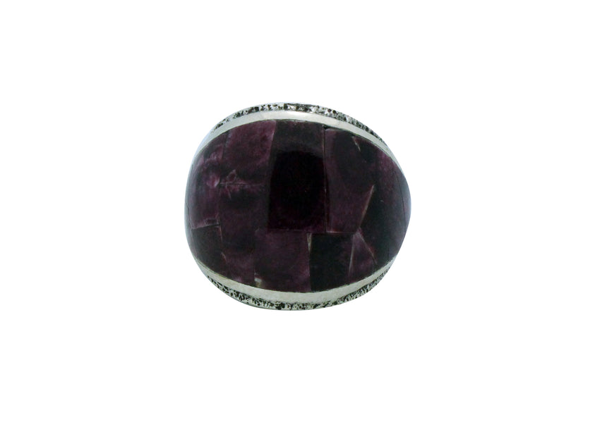 Lester James, Ring, Inlay, Wide, Purple Spiny Oyster Shell, Navajo Handmade, 9