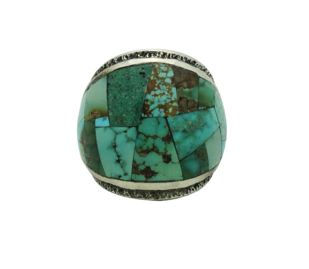 Lester James, Ring, Inlay, Wide, Variety Turquoise, Navajo Handmade, 8.5