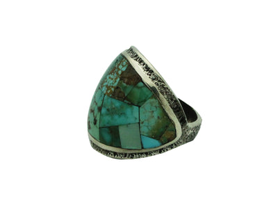 Load image into Gallery viewer, Lester James, Ring, Inlay, Wide, Variety Turquoise, Navajo Handmade, 8.5