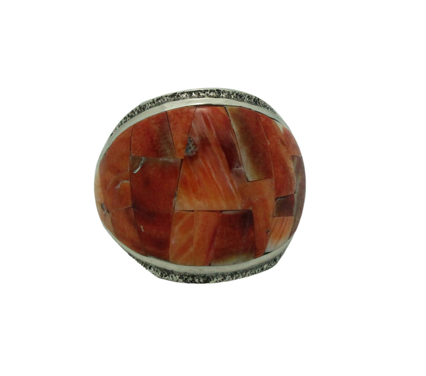 Lester James, Ring, Inlay, Wide, Orange Spiny Oyster Shell, Navajo Handmade, 9.5