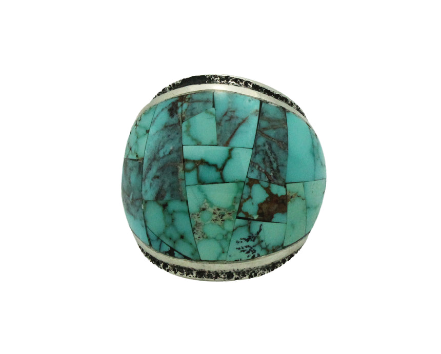 Lester James, Ring, Inlay, Wide, American Turquoise, Navajo Handmade, 8