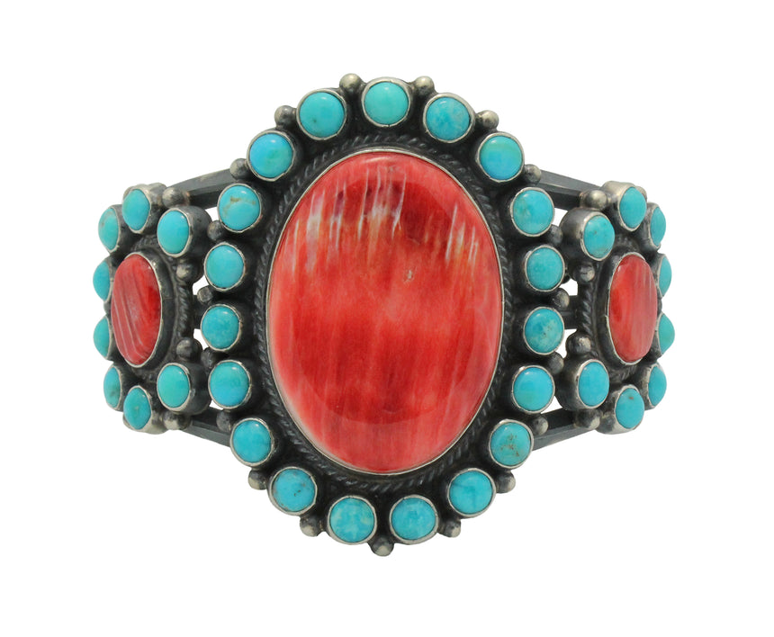 Anthony Skeets, Bracelet, Spiny Oyster Shell, Turquoise, Navajo Handmade, 6.5