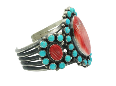 Load image into Gallery viewer, Anthony Skeets, Bracelet, Spiny Oyster Shell, Turquoise, Navajo Handmade, 6.5