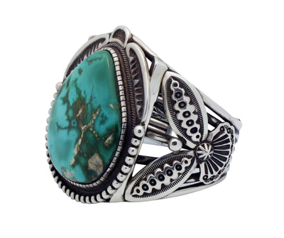 Load image into Gallery viewer, Terry Martinez, Bracelet, Royston Turquoise, Big, Silver, Navajo Handmade, 7 1/4