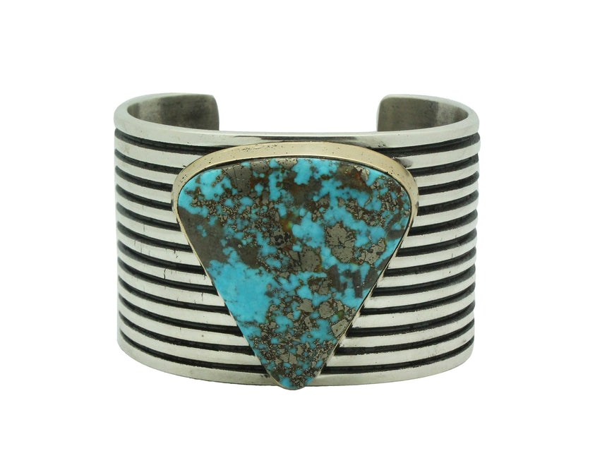 Aaron Anderson, Bracelet, Morenci Turquoise, Silver, 14k Gold, Navajo Made, 6.5