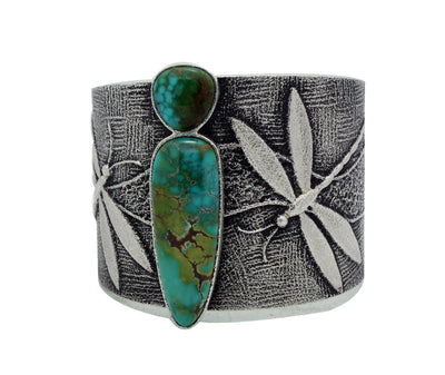 Load image into Gallery viewer, Darryl Dean Begay, Bracelet, Blue Moon Turquoise, Dragonfly, Navajo Made, 6.5