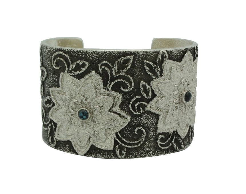 Rebecca Begay, Bracelet, Apache Blue Turquoise, Flower Design, Navajo Made, 6 1/8