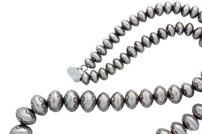 Load image into Gallery viewer, Jeffrey Nelson, Silver Bead Necklace, Stamping, Graduated, Navajo Made,? 28