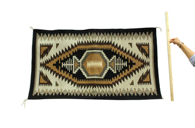 "Load image into Gallery viewer, Corlena Tsosie Padilla, Two Grey Hills Rug, Handwoven, Navajo, 51"" x 29"""