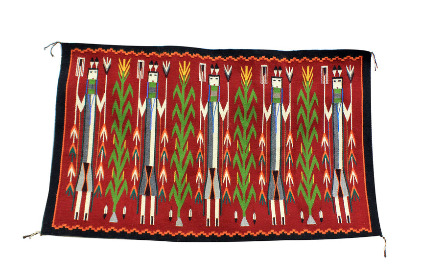 Rena John, Yei Rug, Red, Orange Border, Navajo Handwoven, 53.5