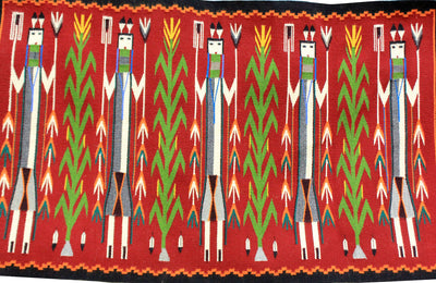 "Load image into Gallery viewer, Rena John, Yei Rug, Red, Orange Border, Navajo Handwoven, 53.5"" x 33"""