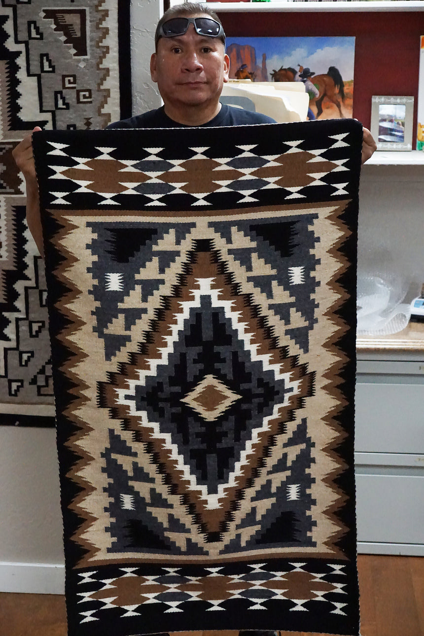 Jefferson Benally, Two Grey Hills Rug, Handwoven, Navajo, 48