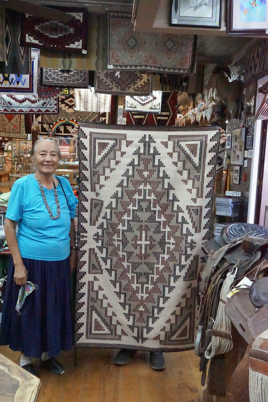 Marie Yazzie, Navajo Handwoven Rug, Raised Outline Pattern, 37 1/2
