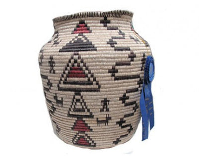 Load image into Gallery viewer, Tressa Curtis, Apache Inspired Grass Basket, Blue Ribbon, Navajo