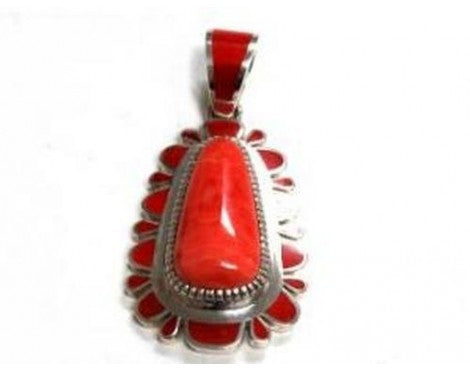 Vernon Haskie, Sterling Silver Pendant with lots of Inlay Coral
