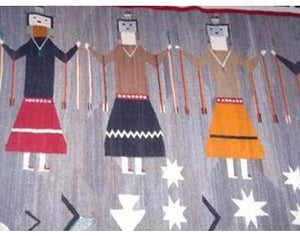 "Circa 1940s Navajo Yei Rug, Large, Natural Dyes, Collectible, 10' 10"" x 7' 5"""
