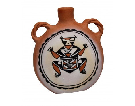Zuni Painted Pottery Canteen, Signed, MPC, Handmade, 7.5 in x 3.4 in x 6 in
