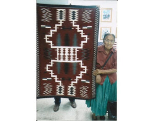 "Della Woody, Storm Pattern, Navajo Hand Woven, 4'10""x 3'3"""