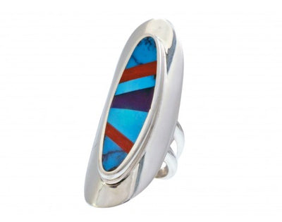 Load image into Gallery viewer, Multi-Stone Inlay Ring, Sterling Silver, Turquoise, Coral, Sugilite, 6 1/2""