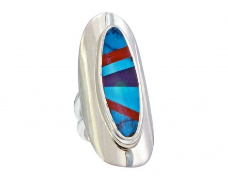 Multi-Stone Inlay Ring, Sterling Silver, Turquoise, Coral, Sugilite, 6 1/2