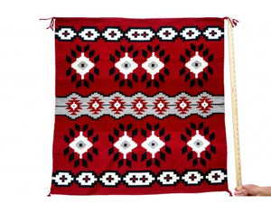 "Eleanor Trjullo, Ganado Red Rug, Navajo Handwoven, 35""x 36 1/2"""
