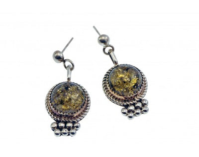 Load image into Gallery viewer, Ray Begay, Pierced Dangle Earrings, Amber, Sterling Silver, Navajo