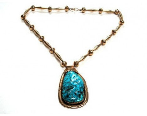 Robert and Bernice Leekya, 14k Gold with Kingman Turquoise Necklace