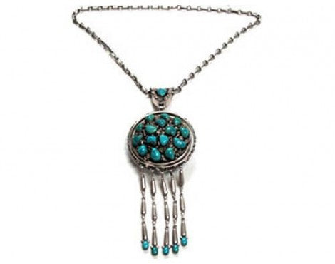 Mary and Lee Weebothee, Silver with Morenci Turquoise Cluster Necklace