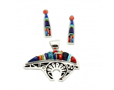 Load image into Gallery viewer, Stoneweaver, Inlay, Bear Pendant,Triangle Earrings, Turquoise, Coral, Lapis, Navajo Handmade