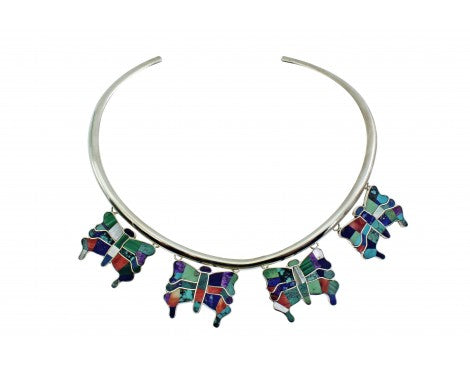 Melvin Francis, Eugene Chee, Choker, Inlay Butterflies, Multi Stone, Navajo,14''