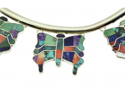 Load image into Gallery viewer, Melvin Francis, Eugene Chee, Choker, Inlay Butterflies, Multi Stone, Navajo,14''