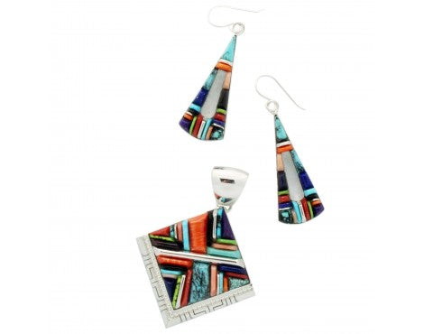 Kenneth Bitsie, Stoneweaver, Diamond Pendant,Triangular Cutout Earrings, Multi Stone, Navajo Handmade