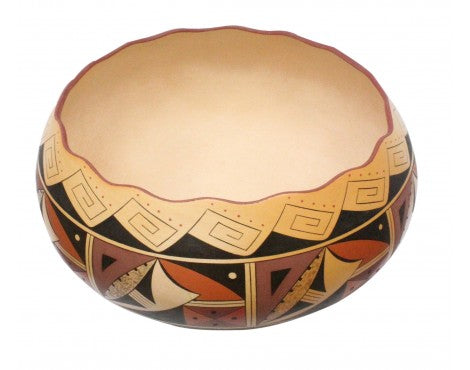 Stetson Setalla, Hopi Pottery, Hand Coiled, Large Bowl, Natural Colors, 8 in x 12 in