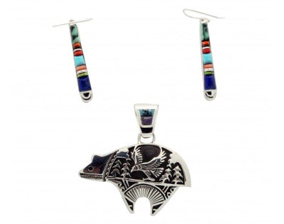 Load image into Gallery viewer, Nataanii, Stoneweaver, Reversable Bear Pendant, Earrings, Multi-Stone, Navajo Handmade