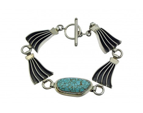 James Bahe, Link Bracelet, Number Eight Turquoise, Sterling Silver, Navajo