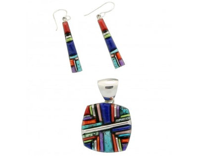 Load image into Gallery viewer, Kenneth Bitsie, Stoneweaver, Square Pendant, Long Earrings, Multi Stone, Navajo Handmade