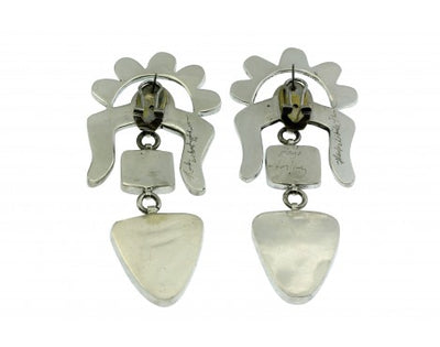 Load image into Gallery viewer, Hank Whitethorne, Pierced Earrings, Multi Stone Inlay, Silver, Navajo, 3 1/2''