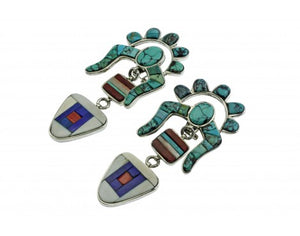 Hank Whitethorne, Pierced Earrings, Multi Stone Inlay, Silver, Navajo, 3 1/2''