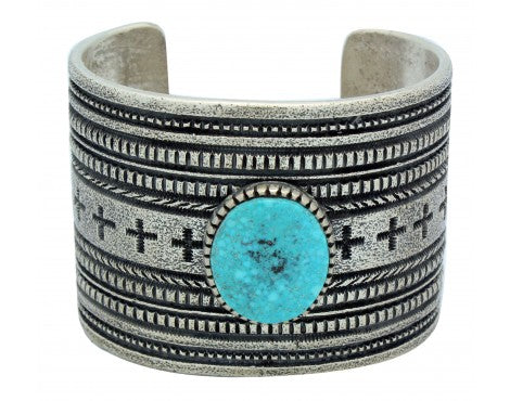 Harrison Jim, Bracelet, Kingman Turquoise, Four Direction, Navajo Made, 6.75 in