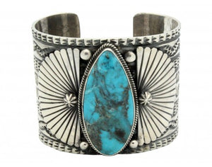 Sunshine Reeves, Bracelet, Kingman Turquoise, Sterling Silver, Navajo Made 6.5