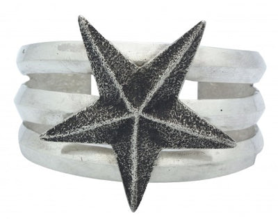 Load image into Gallery viewer, Lee Begay, Tufa Cast Bracelet, Star Design, Sterling Silver, Navajo Made, 6.25in