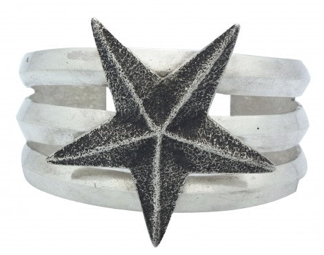 Lee Begay, Tufa Cast Bracelet, Star Design, Sterling Silver, Navajo Made, 6 1/4